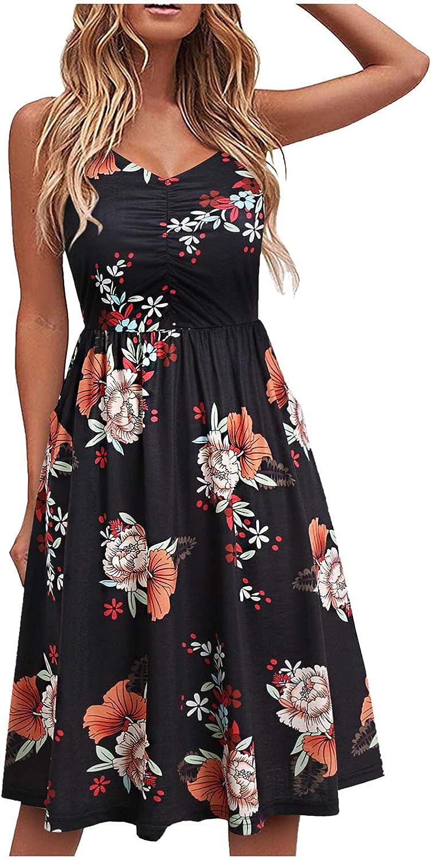 Summer Dress for Women,Beach Floral V Neck Dress Spaghetti Strap Sleeveless Casual Swing Midi Sundress