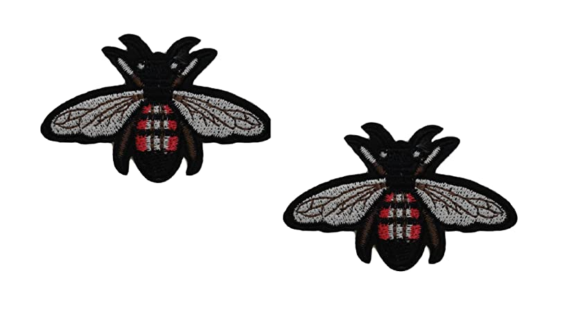 2 pieces BEE WASP Iron On Patch Applique Animal Insect Motif Fabric Scrapbooking Decal 2.5 x 1.8 inches (6.3 x 4.5 cm)