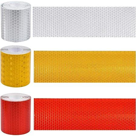 Kissral 3pcs Reflektorband Selbstklebend Fahrrad Reflektoren Weiß Rot Gelb Reflektor Aufkleber Helm Reflektierendes Klebeband 3 Meter 50 Mm Für Motorräder Nachts Fahren Sicherheitserinnerung Auto