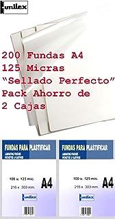 Fundas de Plastificar DIN A4 125 Micras Pack Ahorro de 200 Fundas Sellado Perfecto Gramaje Recomendado para Colegios y Ofi...