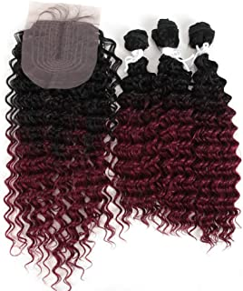DÉBUT synthetic hair bundles with lace front closure hand-tied 4pcs 18 20 22 inches 260g Human Hair Similar weave kinky curly Heat Resistant ombre Black Dark Burgundy