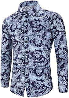 Holzkary Men's Fashion Beach Holiday Casual Printed Tops Long Sleeve Turn-Down Collar Button Down Shirt