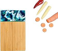 Tablero de bambú 24x15cm | Arte de resina azul inspirado en la naturaleza | Pequeña tabla de cortar de madera para...