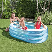 AJJA Summer Paddle Pool Oval Tub Children Pvc Inflatable Pool Outdoor 163 * 107 * 46CM Easy To Install Happy Play
