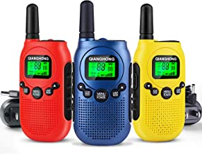 Qianghong Rechargeable Walkie Talkies for Kids Included Li-ion Battery and Charger (Blue/Yellow/Red)