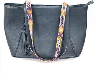 Tote Leather Bag for Women Blue color, Large Handbag Shoulder for laptop, Handle Satchel with Chiapas Handcraft embroidery by artisans