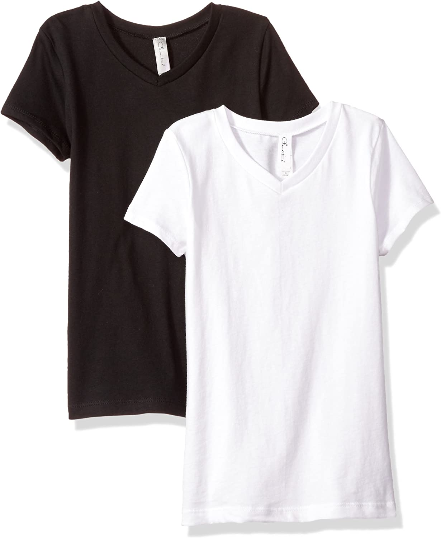 Popular shop is the lowest price challenge Clementine Girls' Everyday Short Sleeve Pack 2 Manufacturer OFFicial shop V-Neck T-Shirt