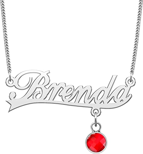 QeenseKc Name Necklace Personalized Necklace with Red Birthstone Script