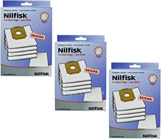 Nilfisk Power P10 P20 P40 Allergy PW10 PW20 Vacuum Cleaner Cloth Bags + Filter (3 x Packs)