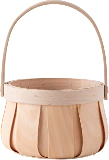 Vintiquewise QI003503 Small Round Natural Woodchip Wooden Decorative Storage Basket with Handle, Brown