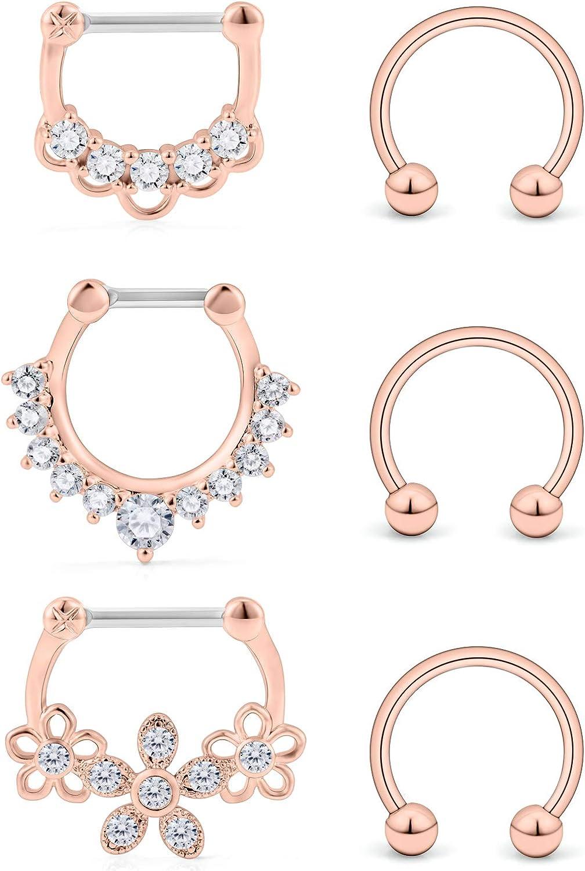 Ocptiy 16G Surgical Steel Nose Hoop Septum Rings Ear Daith Tragus Earrings Clicker Rings Retainer Body Piercing Jewelry for Women Men Inner Diameter 10mm 6PCS