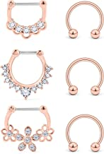 Ocptiy 6PCS 16G Surgical Steel Clear CZ Nose Hoop Septum Ring 10mm Horseshoe Ear Daith Tragus Clicker Rings Retainer Body Piercing Jewelry