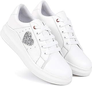 Longwalk Girls Sneakers Breathable, Walking, Running Shoes (White)