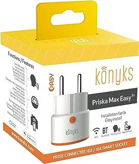 Konyks Priska Max Easy EU Smart stopcontacten, wifi + Bluetooth, 16 A, 3680 W, verbruikteller, compatibel met Alexa en Goo...