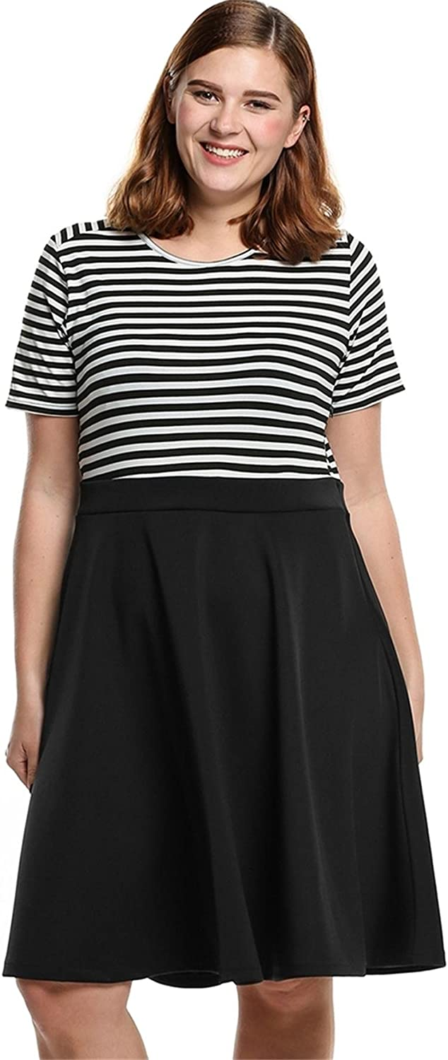 blueetime Women's ONeck Short Sleeve Striped Patchwork Pleated Dress