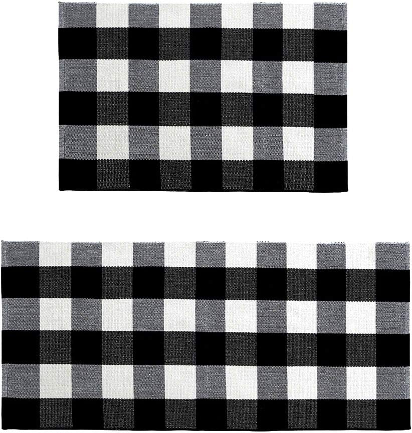 2 Pieces Buffalo Plaid Rugs, Washable Indoor/Outdoor Doormat Front Porch Rug Kitchen Rugs, Hand-Woven Buffalo Checkered Rug for Living Room Laundry Room Bathroom Bedroom, 24''x 35'' and 24''x 51''
