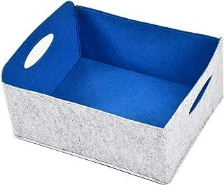 Dake Panier de rangement carré en feutre - Pliable - Boîte de rangement en feutre souple - Jolie boîte de rangement - Bleu