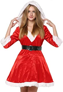 EraSpooky Women's Christmas Santa Costumes Mrs Clause Costume for Women Santa Outfit Dress - Funny Cosplay Party