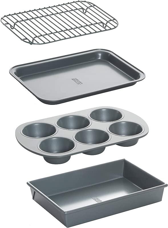 Chicago Metallic 8044 Non Stick Toaster Oven Bakeware Set 4 Piece Carbon Steel