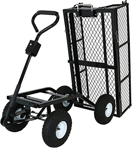 discount Sunnydaze online sale Utility Steel Dump Garden Cart, Outdoor Lawn Wagon discount with Removable Sides, Heavy-Duty 660 Pound Capacity, Black outlet online sale