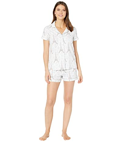 BedHead Pajamas Short Sleeve Classic Short Pajama Set (Blue Eiffel) Women