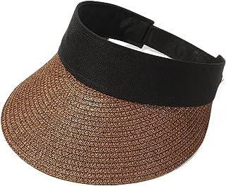SMEJS Summer New Empty Top Suncap Foldable Portable Roll-up Beach Hat Wide Brim Sun Hat Fashion Casual Straw Cap Visors fo...