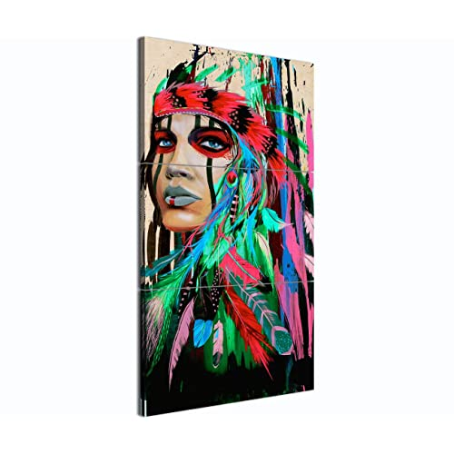 197b0214d1b96 Canvas Print Wall Pictures for Living Room Indian Girl Chief Native American  Painting Modern Home Decor