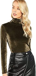 Women's Basic Slim Long Sleeve Turtleneck Glitter Tee Blouse Tops