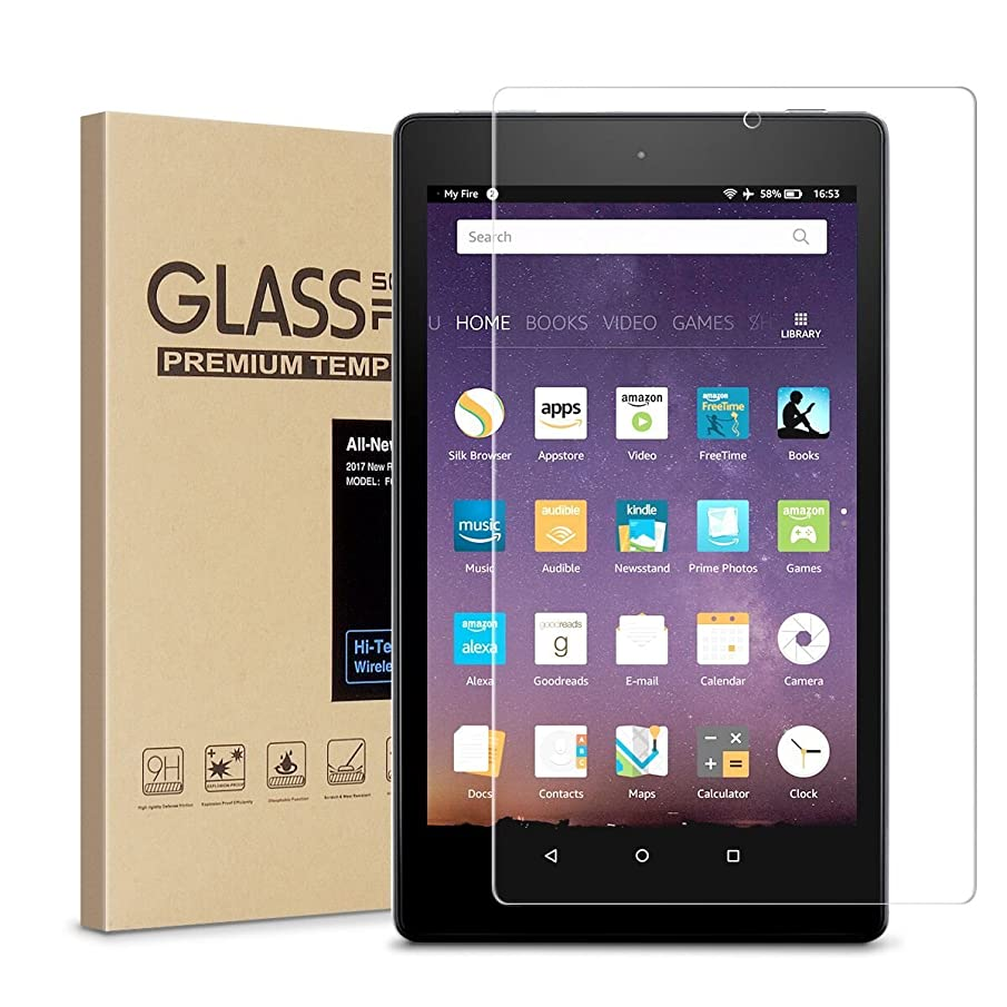 Fire HD 8 Screen Protector,Tempered Glass Screen Protector for All New Fire HD 8 /kids edition Tablet (2017 Release)