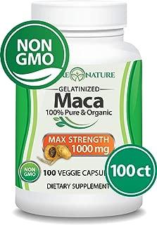 Organic Maca Root - 100 Vegan Capsules - Peruvian Maca Root - Gelatinized, Non-GMO -  Supports Reproductive Health, Natural Energizer