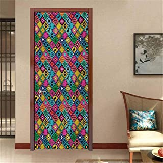 Southwestern 3D Photo Door Murals Patchwork Style Pattern in Hand Drawn Style Symbols and Patterns Boho Hippie Easy to Clean and Apply Multicolor W32 x H80 INCH