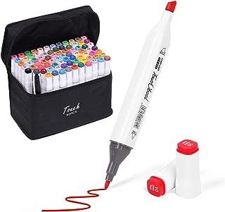 ELOKI マーカーペン イラストマーカー 油性ぺン 80色セット 2種類のペン先 太字 細字コミック用 プレゼント用 塗り絵、描画、落書き、学習用 アートマーカー キャリングケース付き