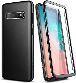 SURITCH Kompatibel mit Samsung S10 Hülle Silikon 360 Grad Hüllen mit Integriertem Displayschutz Bumper Stossfest Handyhülle Schutzhülle für Samsung Galaxy S10 Schwarz