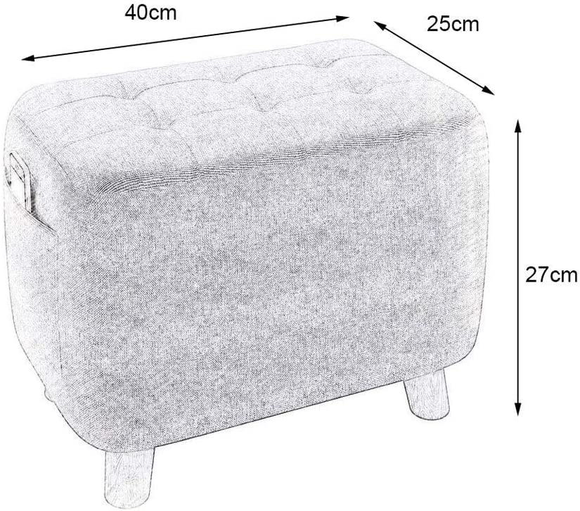 YUMUO Pouf en Bois pour canapé avec Pouf avec Coussin en Tissu Doux avec 4 Pieds en Bois pour Le Salon F1218 (Couleur: A) 4