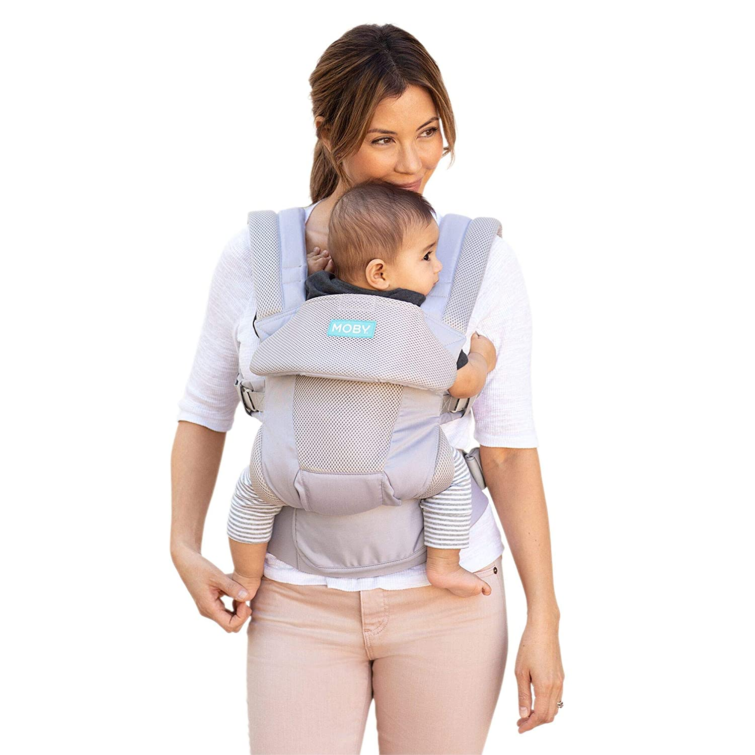 Moby Move | Baby Carrier for Mothers, Fathers, and Caregivers | Designed for Newborns, Infants, and Toddlers | Baby Holder Carrier | Holder Can Support Babies up to 45 lbs | Glacier Grey