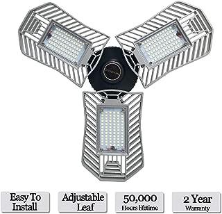LED Garage Lights, 80W Deformable LED Garage Ceiling Lights 8000 Lumens, CRI 80 Led Shop Lights for Garage, Garage Lights with 3 Adjustable Panels, Utility Led Garage Lighting (No Motion Activated)