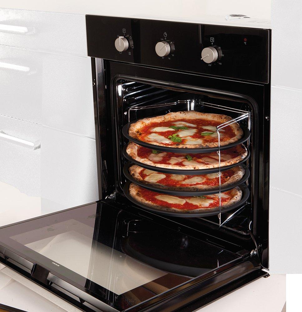 Guardini, Pizza&Manía, Set de 4 Moldes para pizza Ø32cm + Rejilla porta Molde. Material: Acero con Revestimiento Antiadherente, Color Negro.: Amazon.es: Hogar