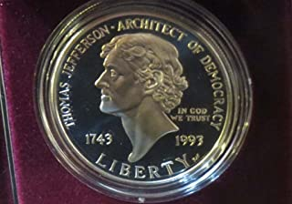 1993 S Commemorative Thomas Jefferson Silver Dollar Proof $1 Uncirculated US Mint