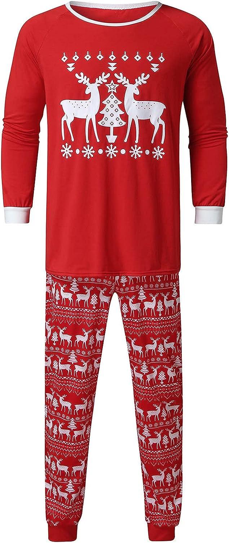 Goldweather Christmas Family Matching Pajamas Reindeer Print Long Sleeve Pjs Sets Winter Holiday Xmas Sleepwear Loungewear