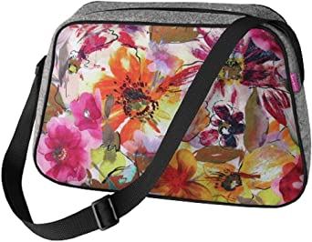 Große Damen Tasche Handtasche Umhängetasche Filz Grau Aufdruck Motiven NESI Garden