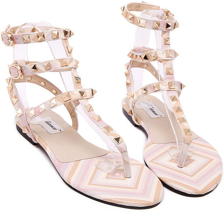 Female Fashion Summer Buckle Strap Sandals with Rivets Gladiator Flats flip Flop Sandalias