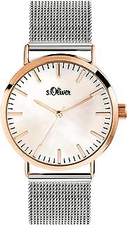 s.Oliver Femme Quartz Montre avec Bracelet en Acier Inoxydable SO-3669-MQ