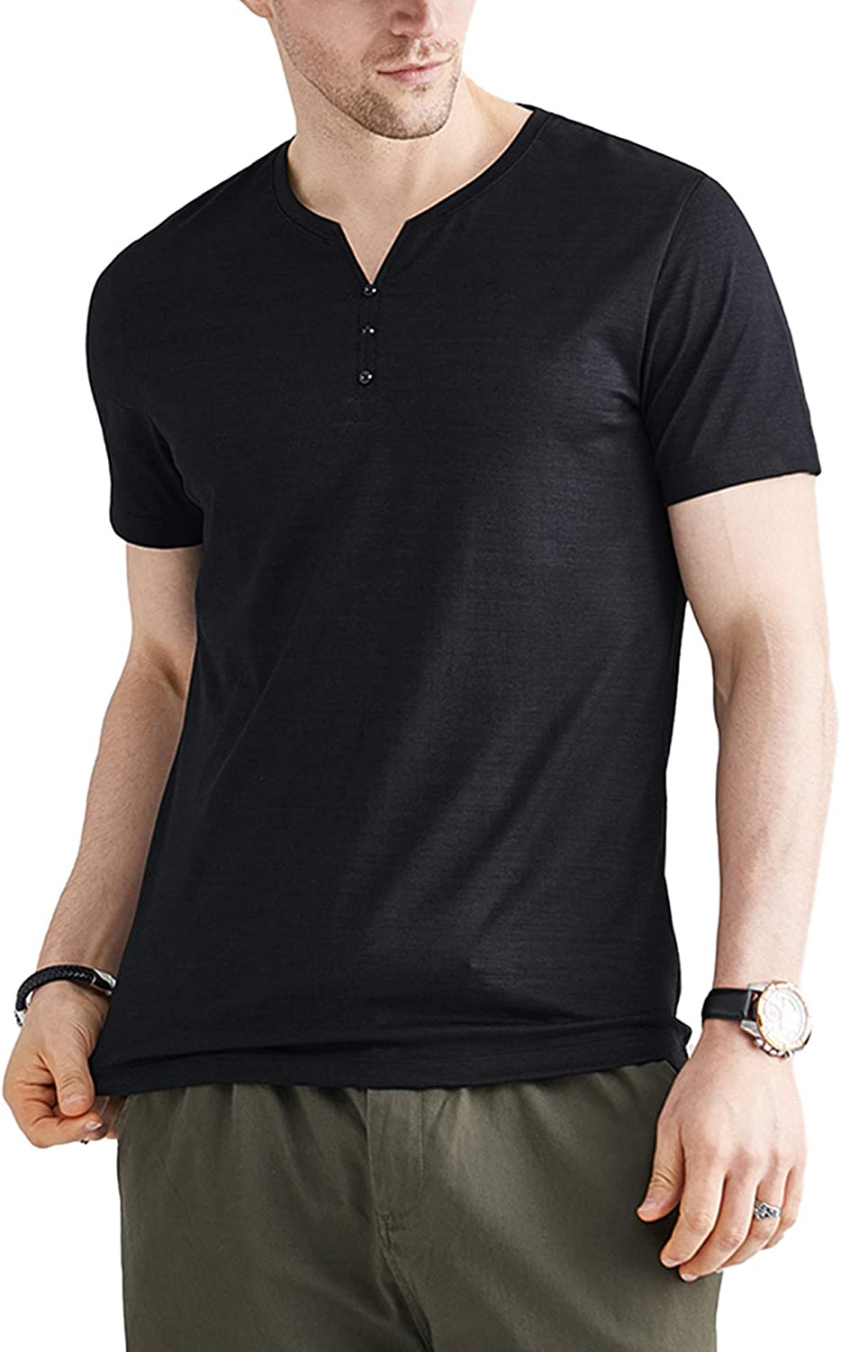 LecGee Men's Workout Shirts Short Sleeve Henley Quick Dry Active Athletic Gym Performance T-Shirts