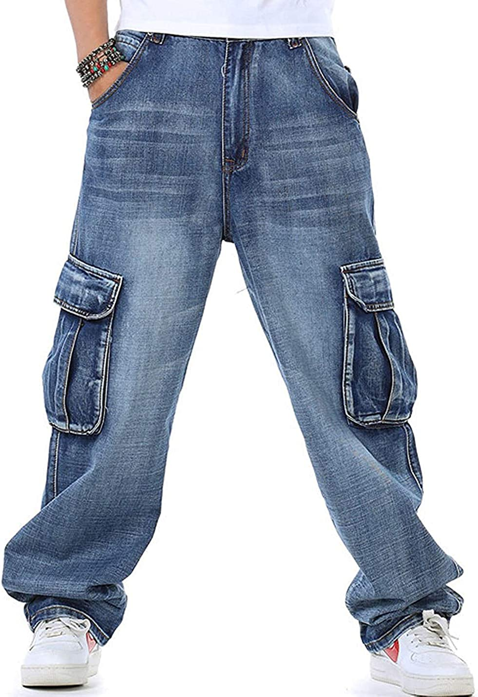 Daily bargain sale Ruiatoo Men's Outdoor Cargo Time sale Multi-Pocket Jeans Denim Work