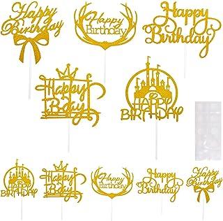 beifon 10 Style Happy Birthday Cake Topper Or Joyeux Anniversaire Gâteau Cake Décoration de Gâteau Fête d'anniversaire Top...