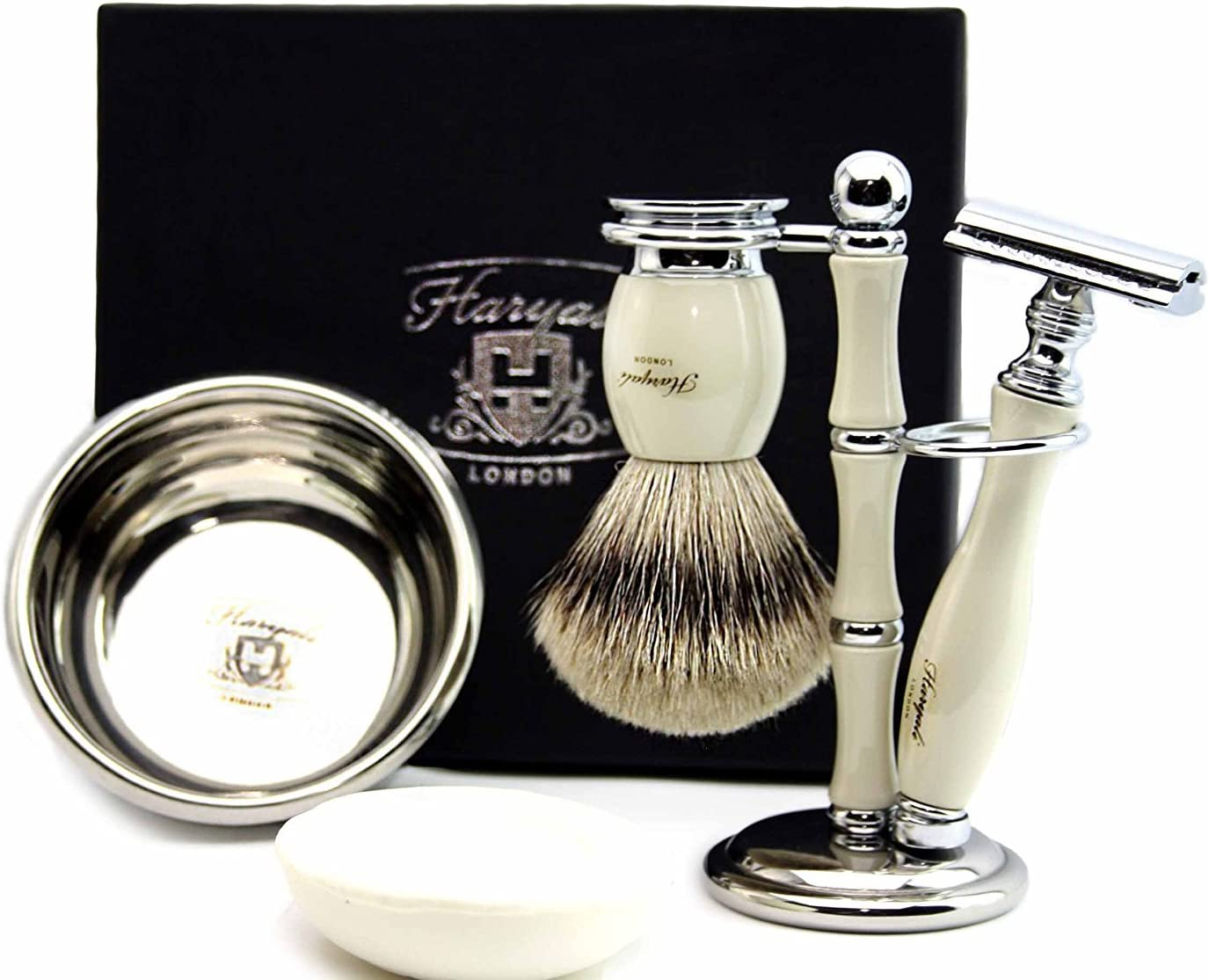 100% All stores are sold Hand Made Shaving Set in Ivory Includes Men's.Set Pure Denver Mall for