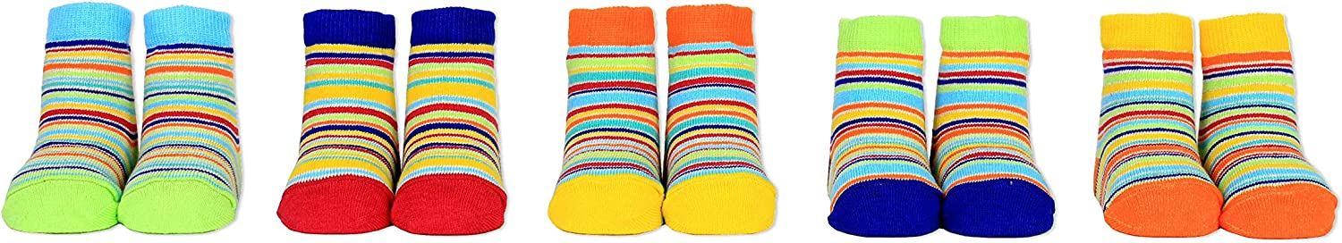Cucamelon Baby Stripey 5 Pairs of Socks 0-12 Months Giftboxed