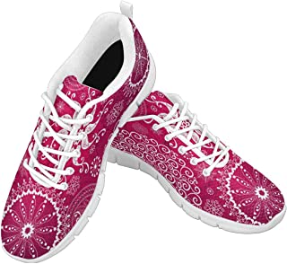 Zenzzle Womens Running Shoes Pattern with White Birds and Vintage Snowflakes Casual Lightweight Athletic Sneakers Size 6-12 Red