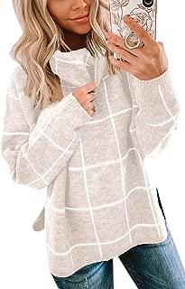 Women Pullover Sweater Turtleneck Plaid Long Sleeve Loose...