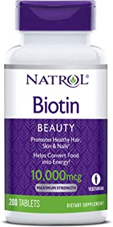 Natrol Biotin Beauty Tablets, Promotes Healthy Hair, Skin and Nails, Helps Support Energy Metabolism, Helps...